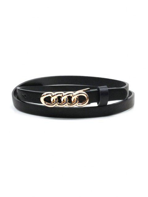 unique Chain Link Shape Buckle Dress Belt - BLACK  Mobile