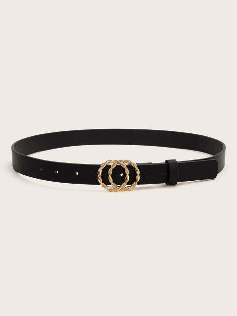 buy Twist Double Circle Buckle Belt - BLACK  Mobile