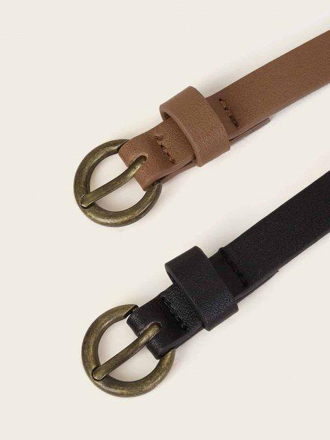 women 2Pcs Classic Pin Buckle Thin Belt Set - MULTI-B  Mobile
