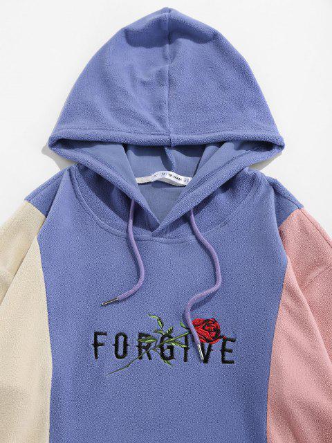 ZAFUL Sweat à Capuche Fleur Rose Brodée Contrasté en Laine - Multi S Mobile