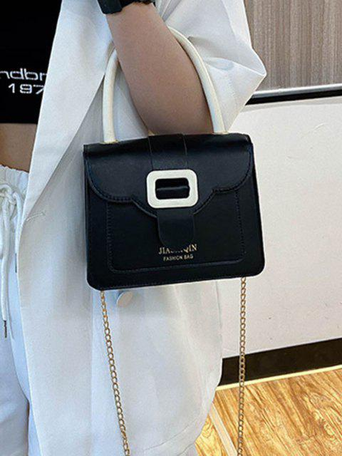 shop Colorblock Chain Square Crossbody Bag - BLACK  Mobile