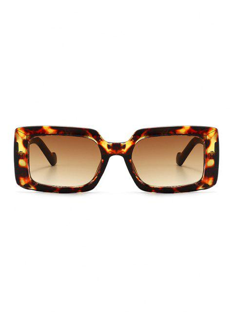 hot Retro Rectangular Wide Rim Sunglasses - LEOPARD  Mobile
