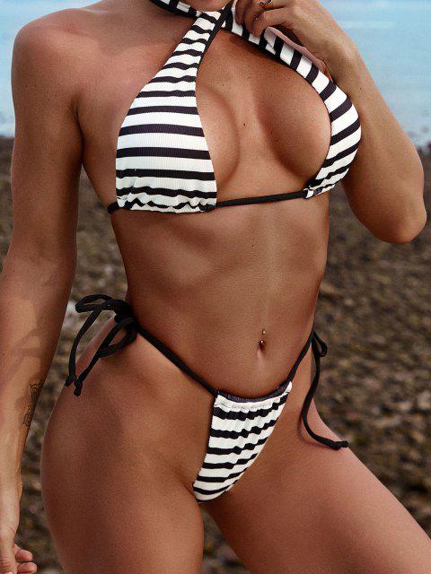 outfits ZAFUL Convertible Striped Ribbed Tie Side Bikini Swimwear - BLACK S Mobile