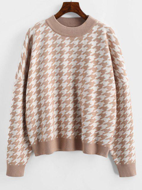 sale Loose Houndstooth Crew Neck Sweater - LIGHT COFFEE ONE SIZE Mobile