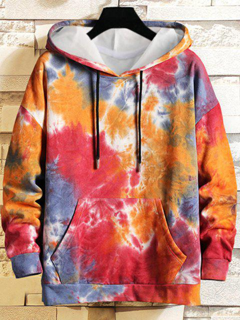 unique Drawstring Kangaroo Pocket Tie Dye Printed Hoodie - ROSE RED XL Mobile