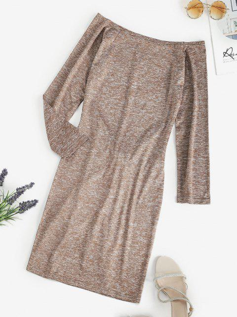 trendy Space Dye Off Shoulder Tied Waist Tee Dress - LIGHT COFFEE L Mobile