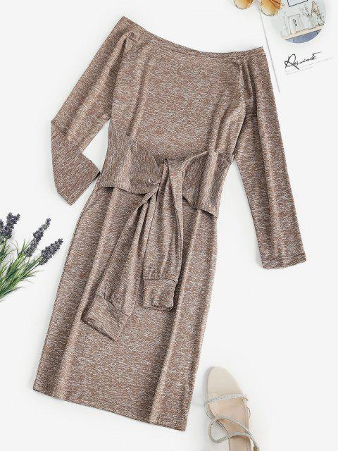 chic Space Dye Off Shoulder Tied Waist Tee Dress - LIGHT COFFEE S Mobile