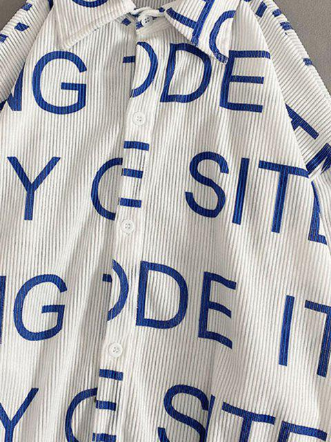 hot Letters Print Applique High Low Corduroy Shirt - WHITE XS Mobile