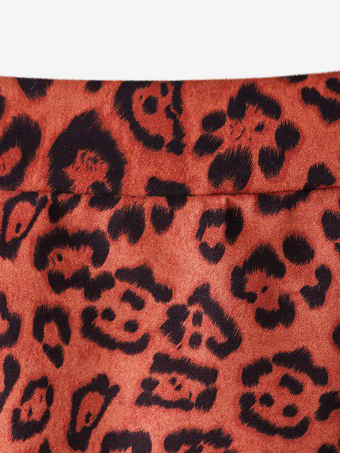 Leopard Künstliche Wildleder Pull Ring mit Reißverschluss - Braun XL Mobile