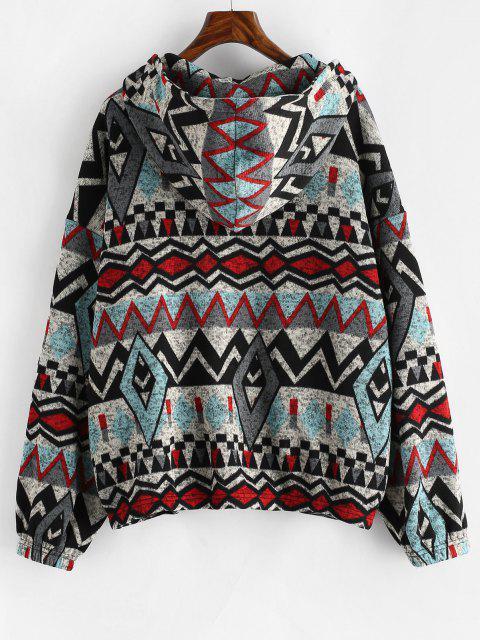 ZAFUL Hooded Geometric Fleece Lined Knit Zip Jacket - ازرق رمادي M Mobile