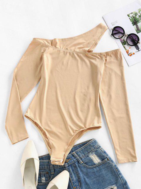 hot ZAFUL Cutout One Shoulder Snap Crotch Bodysuit - BURLYWOOD L Mobile