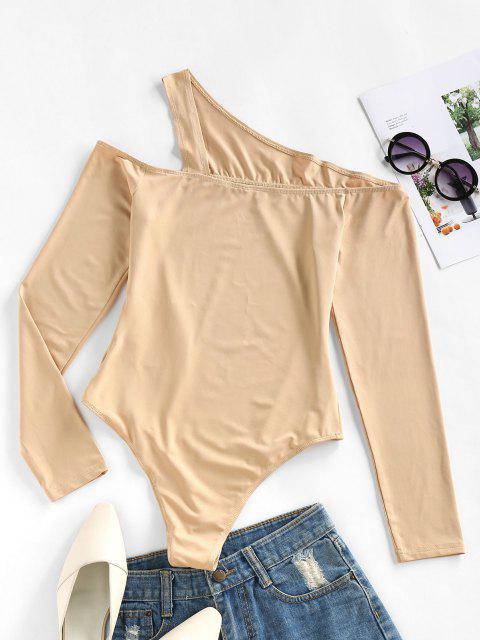 chic ZAFUL Cutout One Shoulder Snap Crotch Bodysuit - BURLYWOOD XL Mobile