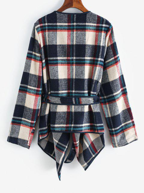 latest Contrast Piping Belted Plaid Wool Blend Coat - DEEP BLUE L Mobile