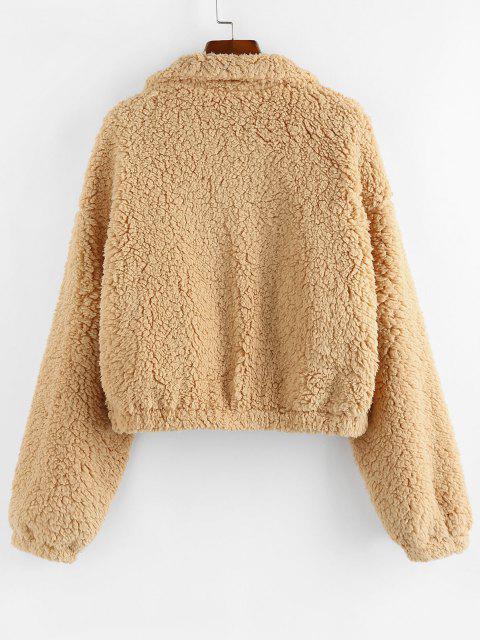 ZAFUL Drop Shoulder Zip Up Teddy Coat - القهوة الخفيفة XL Mobile