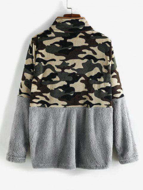 Camouflage Snap Button Pockets Fluffy Sweatshirt - اللون الرمادي XL Mobile