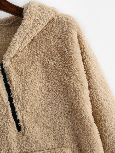 womens ZAFUL Plush Faux Fur Half Zip Pocket Hoodie - CAMEL BROWN L Mobile