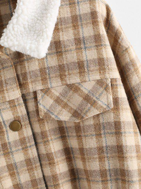 hot ZAFUL Plaid Teddy Collar Flap Detail Jacket - APRICOT M Mobile
