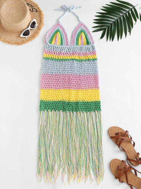Halter Crochet Stripe Fringed Cover Up Dress - متعدد حجم واحد Mobile