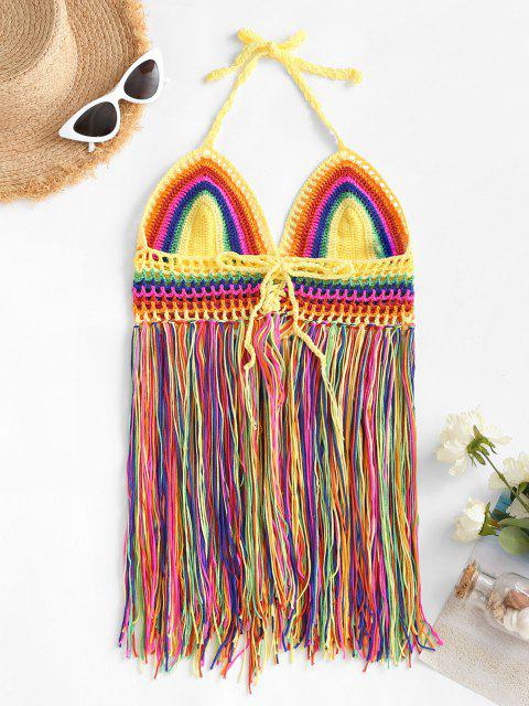 best Fringed Rainbow Striped Crochet Beach Cover-up Top - MULTI ONE SIZE Mobile