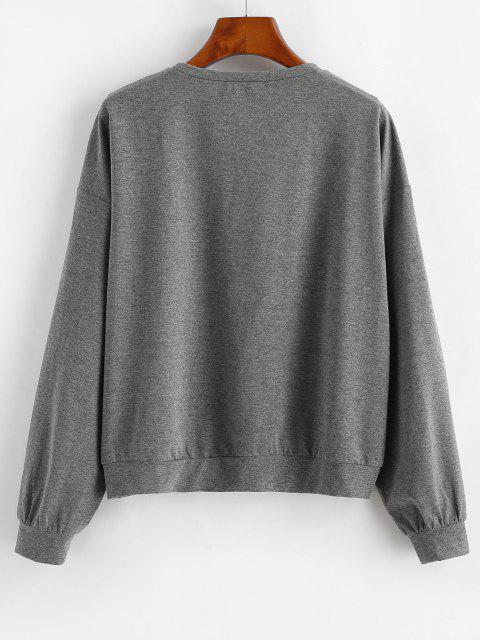 ZAFUL Sun Graphic Moon Child Drop Shoulder Sweatshirt - Dark Slate Grey M Mobile