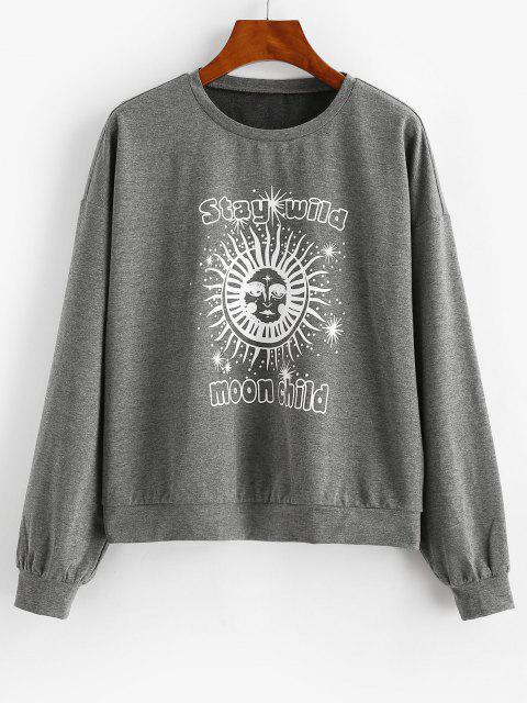 women ZAFUL Sun Graphic Moon Child Drop Shoulder Sweatshirt - DARK SLATE GREY S Mobile