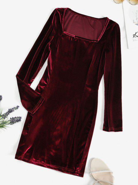 outfits Square Neck Velvet Bodycon Mini Dress - RED WINE S Mobile
