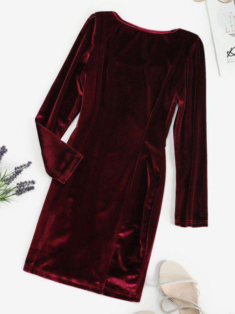 fashion Square Neck Velvet Bodycon Mini Dress - RED WINE M Mobile