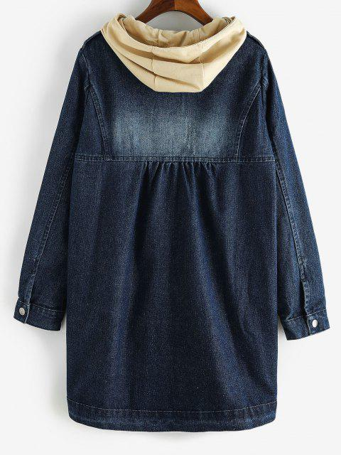 shops Distressed Detachable Hood Combo Denim Coat - DENIM DARK BLUE L Mobile