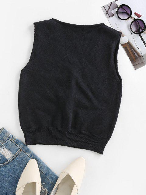 ladies ZAFUL Button Up Rib Trim Sleeveless Cardigan - BLACK M Mobile
