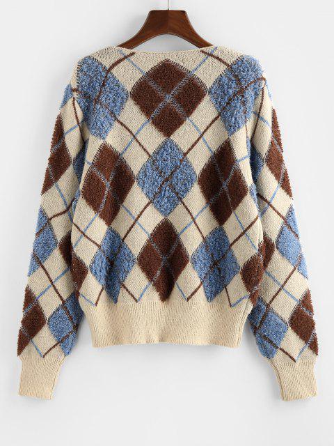 latest ZAFUL Argyle Button Up V Neck Cardigan - MULTI M Mobile