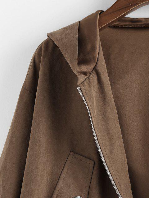 lady ZAFUL Hooded Drop Shoulder Drawstring Waist Jacket - COFFEE M Mobile