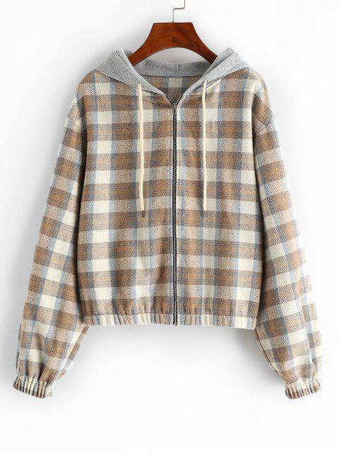 ZAFUL Plaid Hooded Fleece Flannel Zip Jacket - أسمر S Mobile