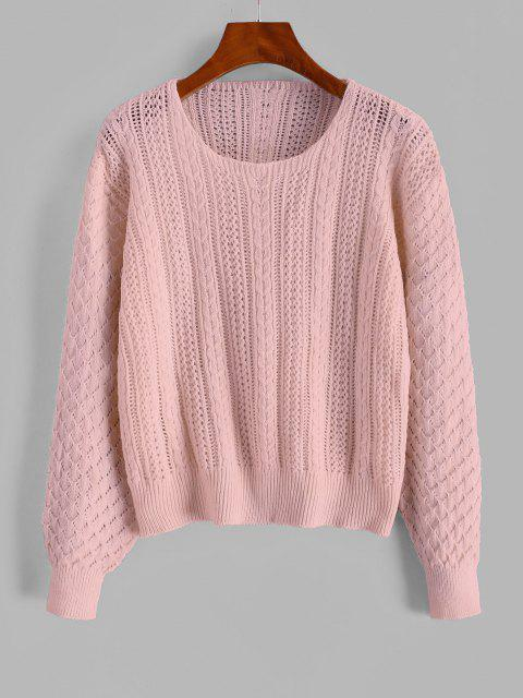 women Cable Knit Openwork Pullover Sweater - PINK ONE SIZE Mobile