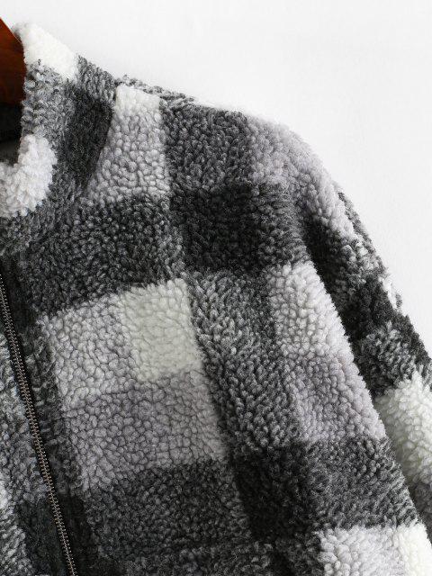 ZAFUL Karierter Hängender Schulter Tunnelzug Teddy Jacke - Schwarz XL Mobile