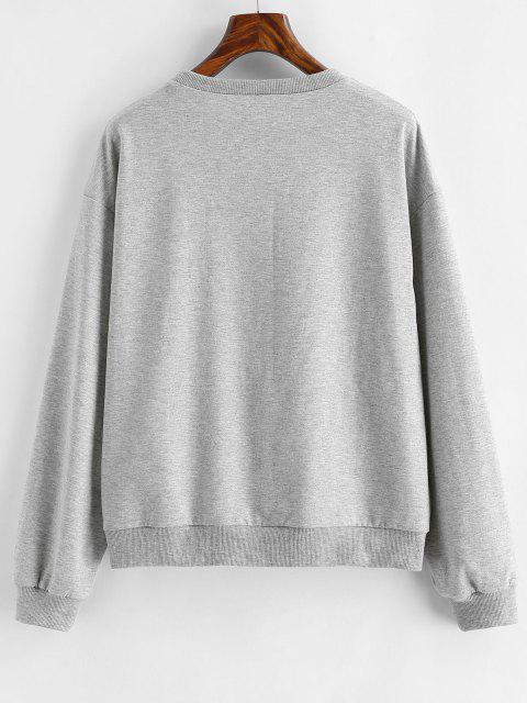 lady ZAFUL Halloween Funny Skeleton Print Drop Shoulder Sweatshirt - LIGHT GRAY XL Mobile