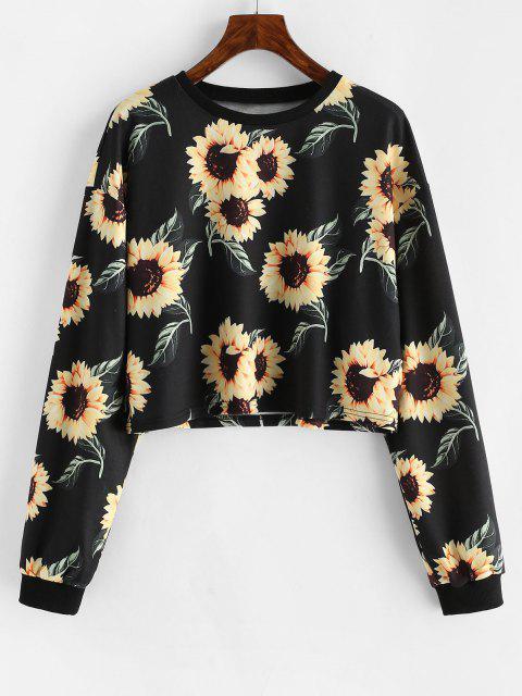 womens ZAFUL Drop Shoulder Sunflower Pattern Short Sweatshirt - BLACK S Mobile