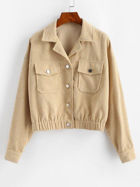 unique ZAFUL Corduroy Flap Pocket Drop Shoulder Jacket - APRICOT L Mobile