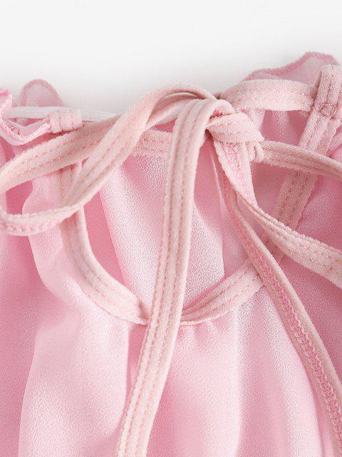 Chiffon Schiere Rüschen Dessous Set - Hell-Pink M Mobile