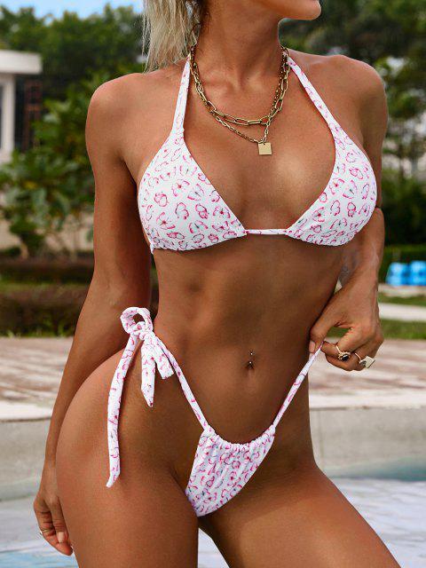 online ZAFUL Halter Butterfly Print Halter High Leg Bikini Swimwear - LIGHT PINK S Mobile