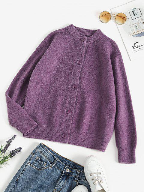best Single Breasted Solid Color Knit Cardigan - DULL PURPLE M Mobile