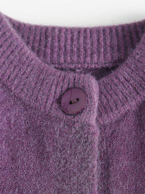 Cardigan Tricoté avec Simple Boutonnage en Couleur Unie - Violet Terne L Mobile