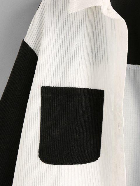 best ZAFUL Corduroy Two Tone Pocket Shirt Jacket - MULTI-A S Mobile