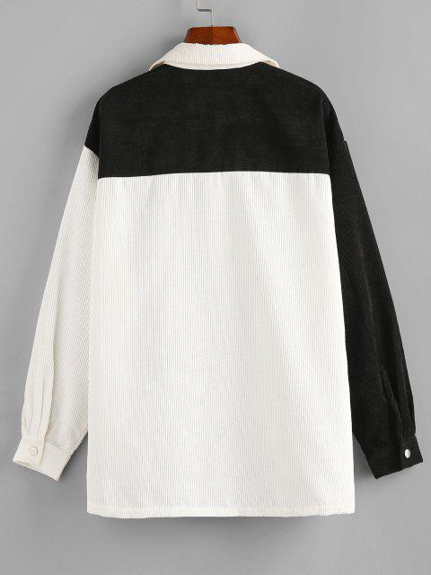 women ZAFUL Corduroy Two Tone Pocket Shirt Jacket - MULTI-A M Mobile
