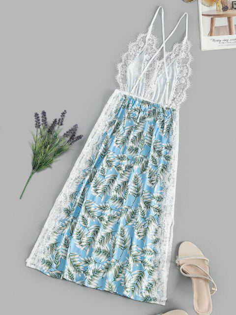 buy Leaf Print Lace Eyelash Slit Cami Night Dress - LIGHT SKY BLUE S Mobile
