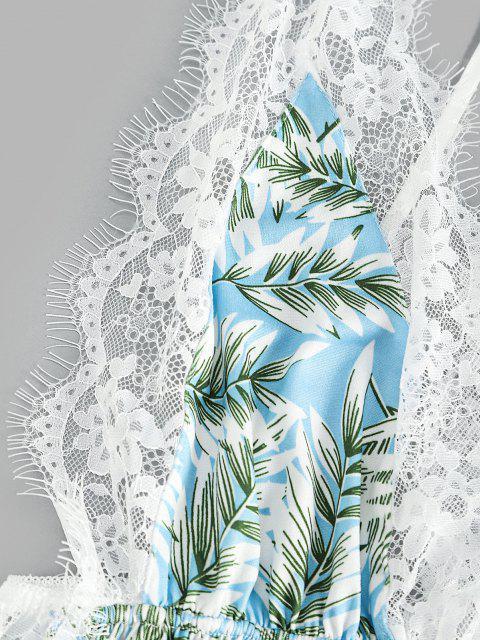 Wimpern Spitze Schlitz Cami Kleid - Helles Himmelblau M Mobile