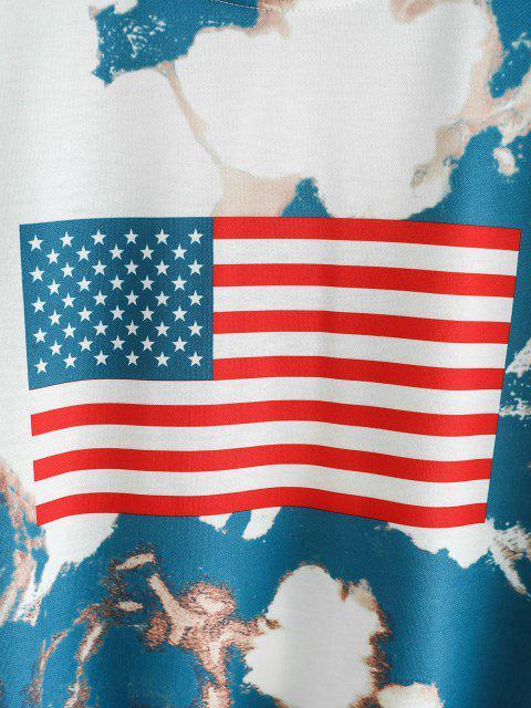 Sudadera con Patrón de Bandera Americana y Cordones - Azul Profundo M Mobile