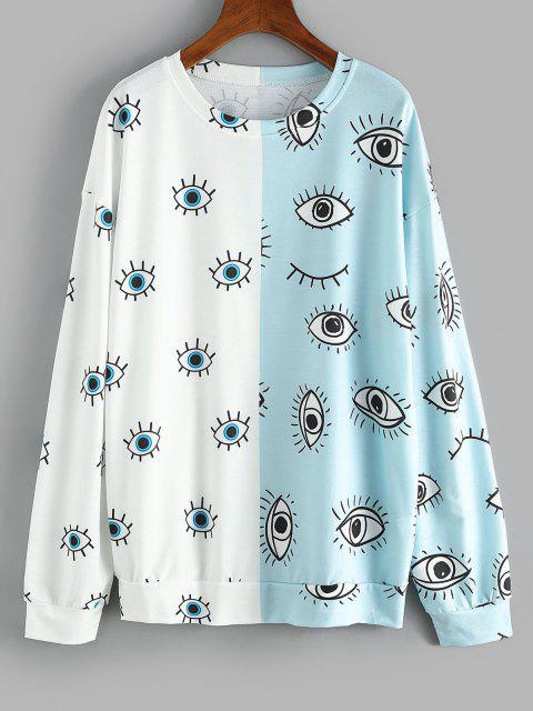 Drop Shoulder Two Tone Eyes Print Sweatshirt - ضوء سماوي L Mobile