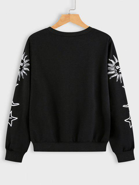 lady Sun Moon and Star Graphic Sweatshirt - BLACK S Mobile