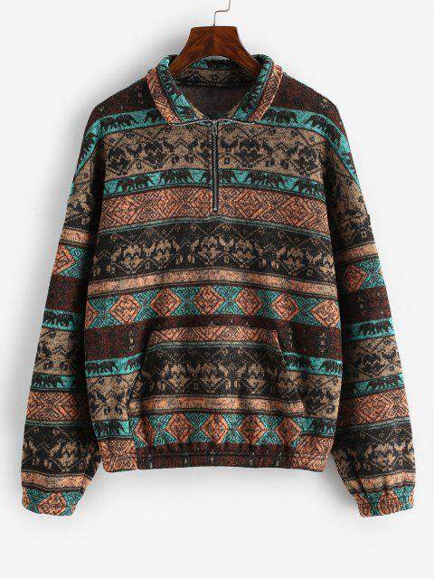 ZAFUL Fleece Lined Ethnic Half Zip Drop Shoulder Sweatshirt - متعددة-A S Mobile