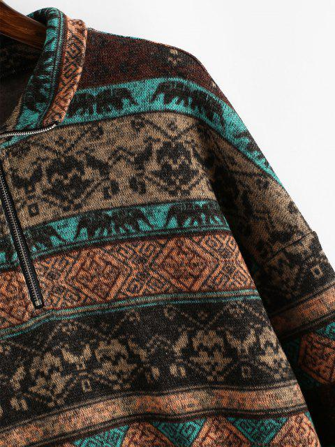 chic ZAFUL Fleece Lined Ethnic Half Zip Drop Shoulder Sweatshirt - MULTI-A M Mobile